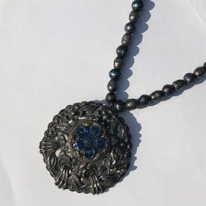 Silver & Blue Necklace with Vintage Center Charm